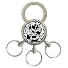Playful abstract art - white and black 3-Ring Key Chains