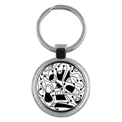 Playful abstract art - white and black Key Chains (Round)