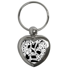 Playful abstract art - white and black Key Chains (Heart)