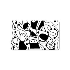 Playful abstract art - white and black Magnet (Name Card)