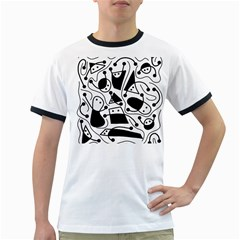 Playful abstract art - white and black Ringer T-Shirts