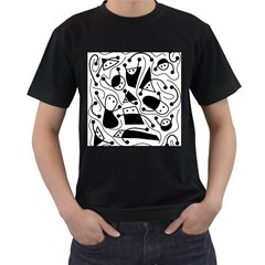 Playful abstract art - white and black Men s T-Shirt (Black) (Two Sided)