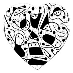 Playful abstract art - white and black Jigsaw Puzzle (Heart)