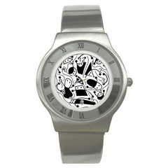 Playful abstract art - white and black Stainless Steel Watch
