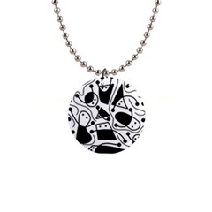 Playful abstract art - white and black Button Necklaces