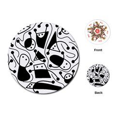 Playful abstract art - white and black Playing Cards (Round)