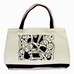Playful abstract art - white and black Basic Tote Bag