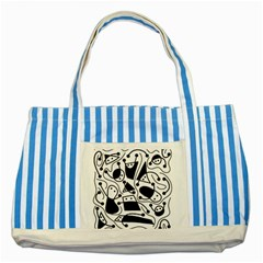 Playful abstract art - white and black Striped Blue Tote Bag