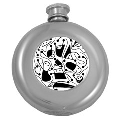 Playful abstract art - white and black Round Hip Flask (5 oz)