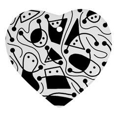 Playful abstract art - white and black Heart Ornament (2 Sides)
