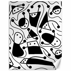 Playful abstract art - white and black Canvas 12  x 16