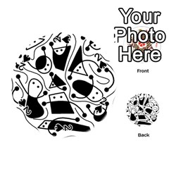 Playful abstract art - white and black Playing Cards 54 (Round)
