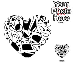 Playful abstract art - white and black Playing Cards 54 (Heart)