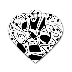 Playful abstract art - white and black Dog Tag Heart (One Side)