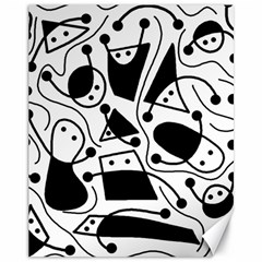 Playful abstract art - white and black Canvas 11  x 14