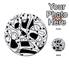 Playful abstract art - white and black Multi-purpose Cards (Round)