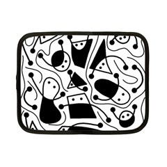 Playful abstract art - white and black Netbook Case (Small)