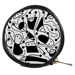 Playful abstract art - white and black Mini Makeup Bags