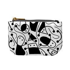 Playful abstract art - white and black Mini Coin Purses