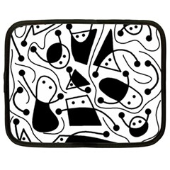 Playful abstract art - white and black Netbook Case (XL)