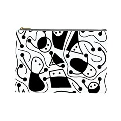 Playful abstract art - white and black Cosmetic Bag (Large)