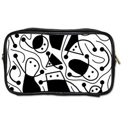 Playful abstract art - white and black Toiletries Bags