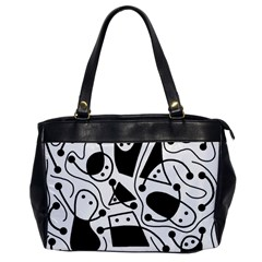 Playful abstract art - white and black Office Handbags