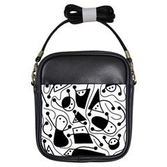 Playful abstract art - white and black Girls Sling Bags