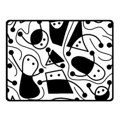 Playful abstract art - white and black Fleece Blanket (Small)