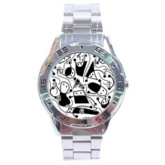 Playful abstract art - white and black Stainless Steel Analogue Watch