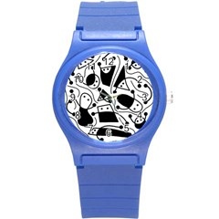 Playful abstract art - white and black Round Plastic Sport Watch (S)