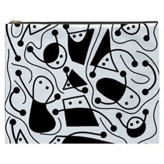 Playful abstract art - white and black Cosmetic Bag (XXXL)