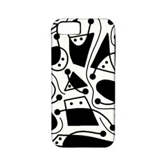 Playful abstract art - white and black Apple iPhone 5 Classic Hardshell Case (PC+Silicone)