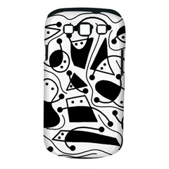 Playful abstract art - white and black Samsung Galaxy S III Classic Hardshell Case (PC+Silicone)