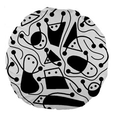 Playful abstract art - white and black Large 18  Premium Round Cushions