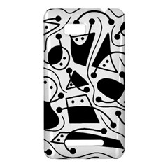 Playful abstract art - white and black HTC One SU T528W Hardshell Case