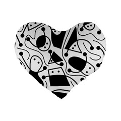 Playful abstract art - white and black Standard 16  Premium Heart Shape Cushions