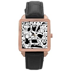 Playful abstract art - white and black Rose Gold Leather Watch