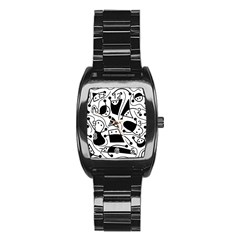 Playful abstract art - white and black Stainless Steel Barrel Watch
