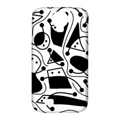 Playful abstract art - white and black Samsung Galaxy S4 Classic Hardshell Case (PC+Silicone)