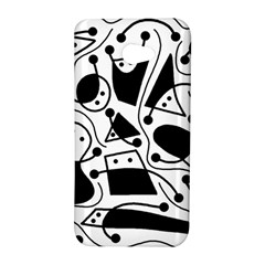 Playful abstract art - white and black HTC Butterfly S/HTC 9060 Hardshell Case