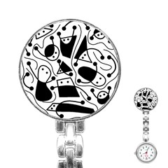 Playful abstract art - white and black Stainless Steel Nurses Watch
