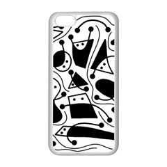 Playful abstract art - white and black Apple iPhone 5C Seamless Case (White)