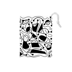Playful abstract art - white and black Drawstring Pouches (Small)