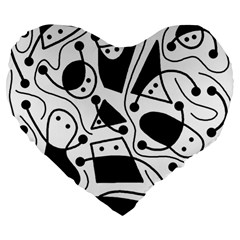Playful abstract art - white and black Large 19  Premium Flano Heart Shape Cushions
