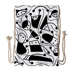 Playful abstract art - white and black Drawstring Bag (Large)