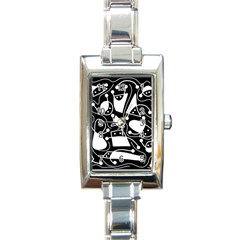 Playful abstract art - Black and white Rectangle Italian Charm Watch