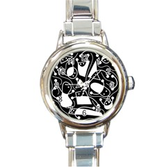 Playful abstract art - Black and white Round Italian Charm Watch