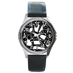 Playful abstract art - Black and white Round Metal Watch
