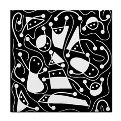 Playful abstract art - Black and white Tile Coasters